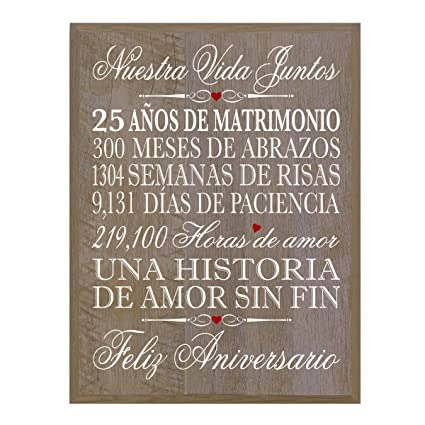 Image Unavailable. Image not available for. Color: LifeSong Milestones Spanish 25th Wedding Anniversary Wall Plaque Gift ...