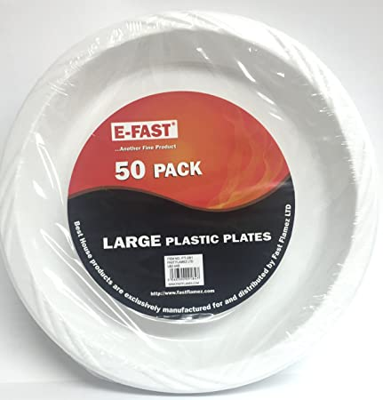 E FAST 50 X 10\u0026quot; Extra Strong White Disposable Plastic Plates ~ Suitable for Hot & E FAST 50 X 10\