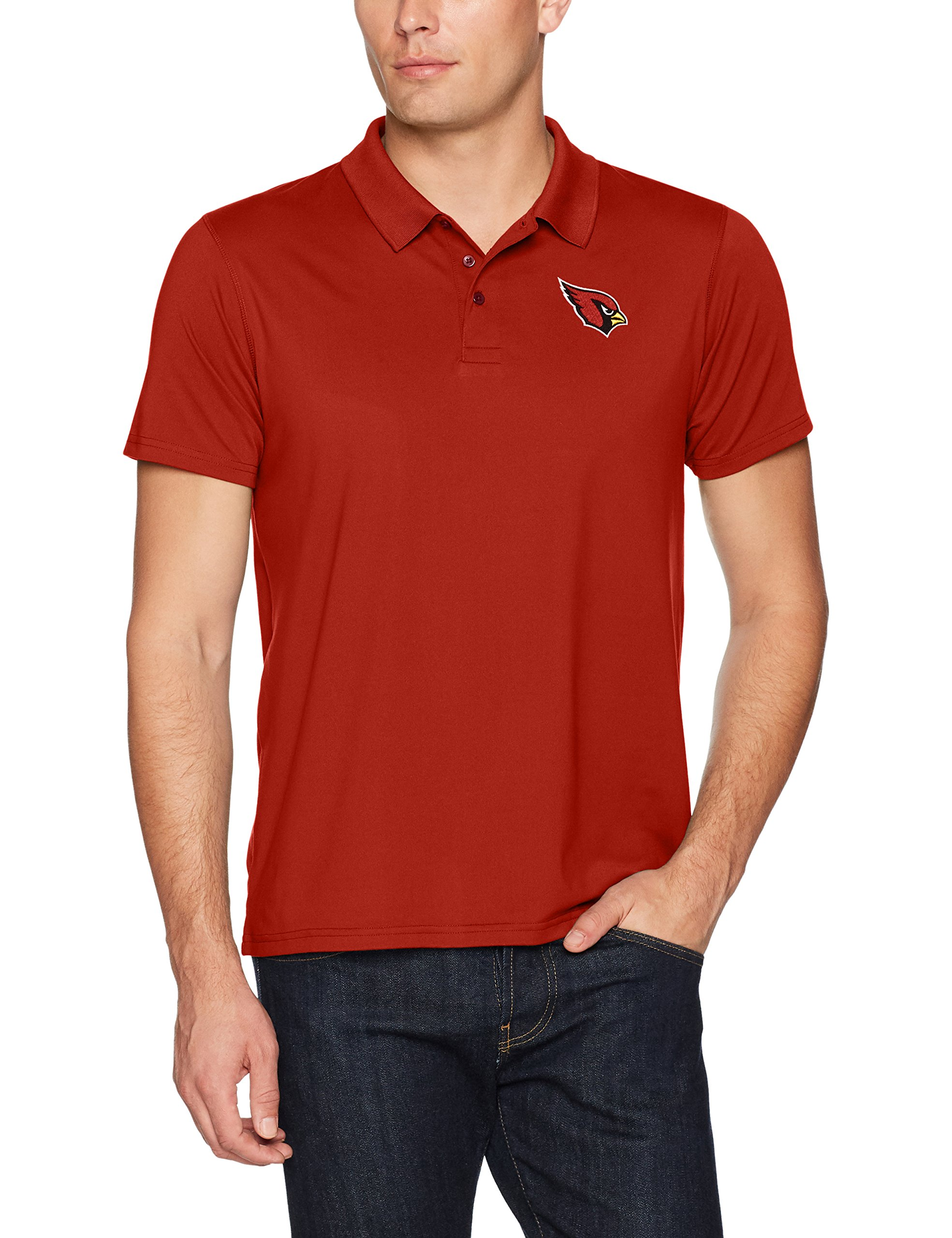 NFL Arizona Cardinals Men's Sueded Short Sleeve Polo Shirt, Logo, Small