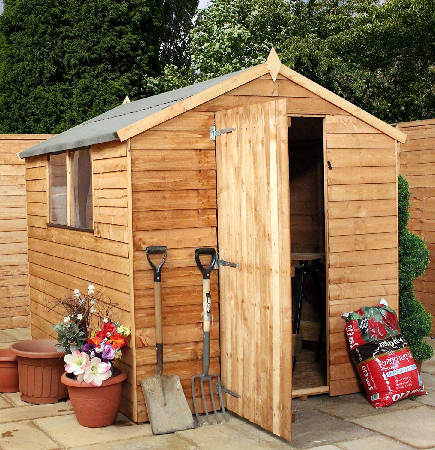 mercia 8 x 6 overlap apex wooden garden shed with single door and felt amazoncouk garden outdoors - Garden Sheds With Windows