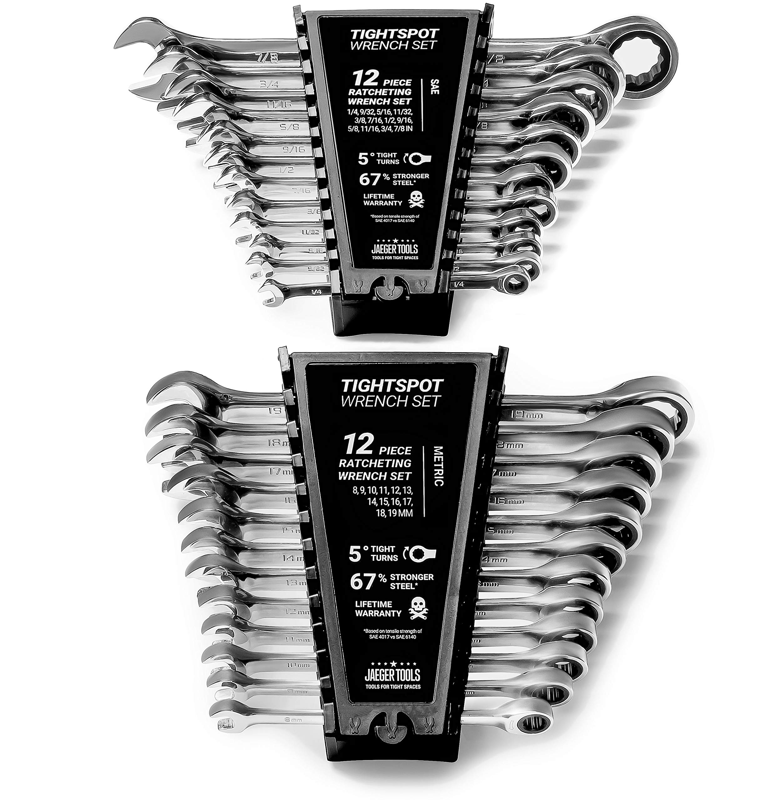 24pc IN/MM TIGHTSPOT Ratchet Wrench MASTER SET - Inch & Metric With Quick Access Wrench Organizer - Our standard in combination wrench sets from gear to tip by Jaeger