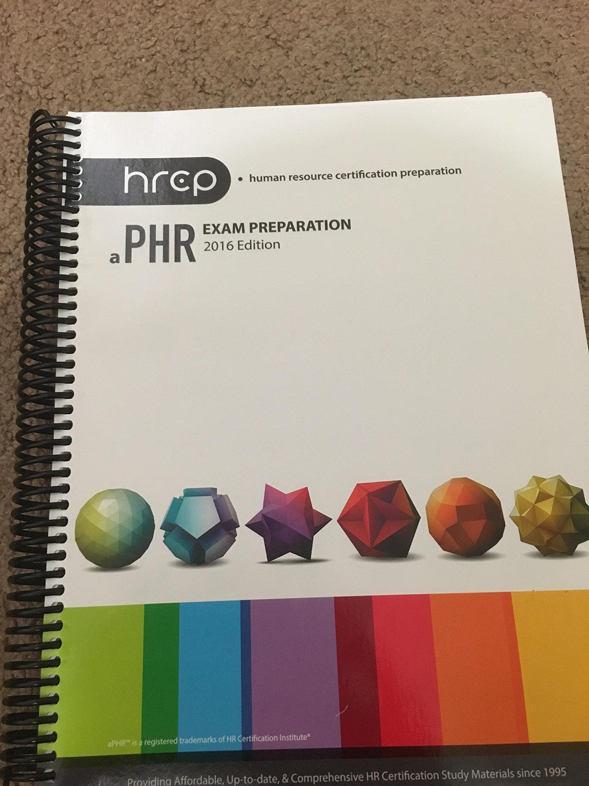 Aphr Exam Preparation 2016 Edition Hrcp 9781934322710 Amazon