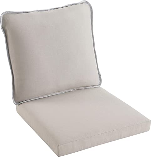 Art Leon in/Outdoor PE Wicker and Fabric Double-Sided Deep Seat Cushion Set