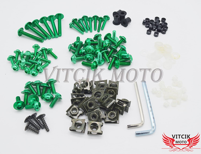 VITCIK Full Fairings Bolt Screw Kits for Honda CBR500R 2012 2013 2014 CBR 500 R 12 13 14 Motorcycle Fastener CNC Aluminium Clips Blue /& Silver
