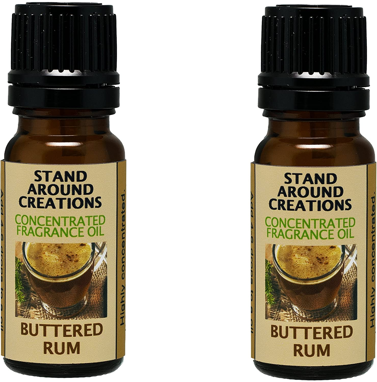 Set of 2 - Concentrated Fragrance Oil - Buttered Rum: Our buttered rum smells like the real thing - dark rum, butter, sugar w/cloves. Infused w/essential oils(.33 fl.oz.) Stand Around Creations