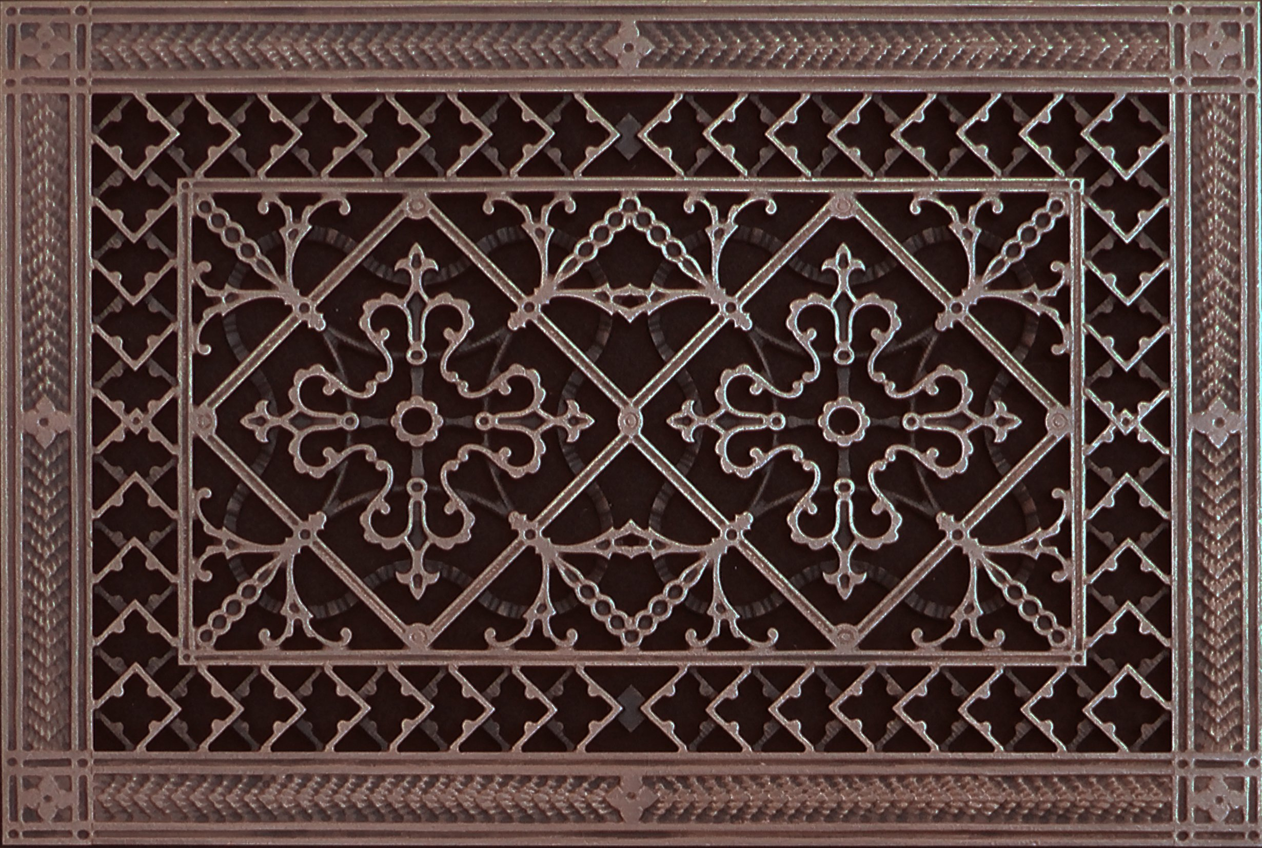 Decorative Grille, Vent Cover, or Return Register. Made of Urethane Resin to fit over a 10''x16'' duct or opening. Total size of vent is 12''x18''x3/8'', for wall and ceiling grilles (not for floor use).