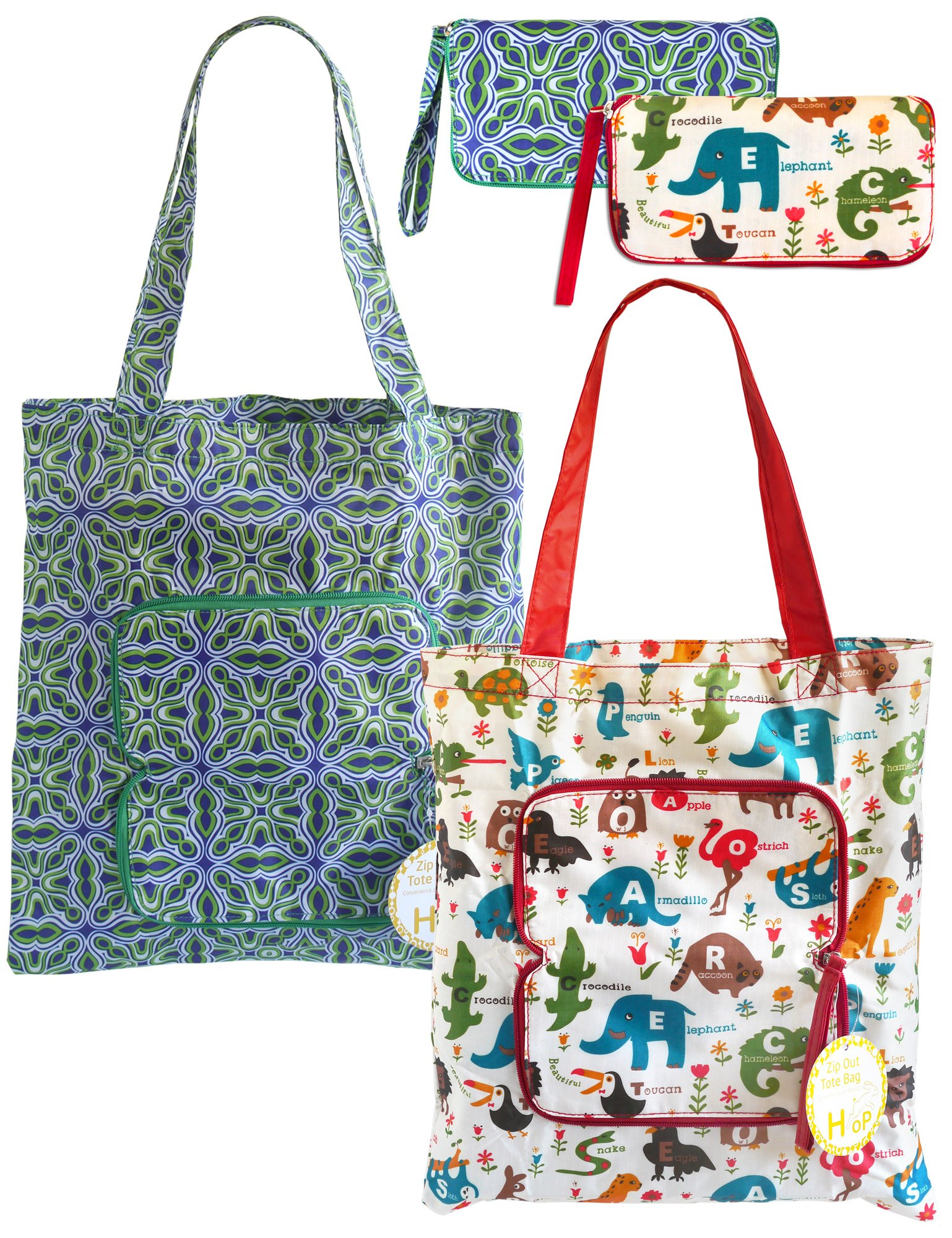 2 Pack Eco Durable Light Weight Shopping Bags, Animal and Green