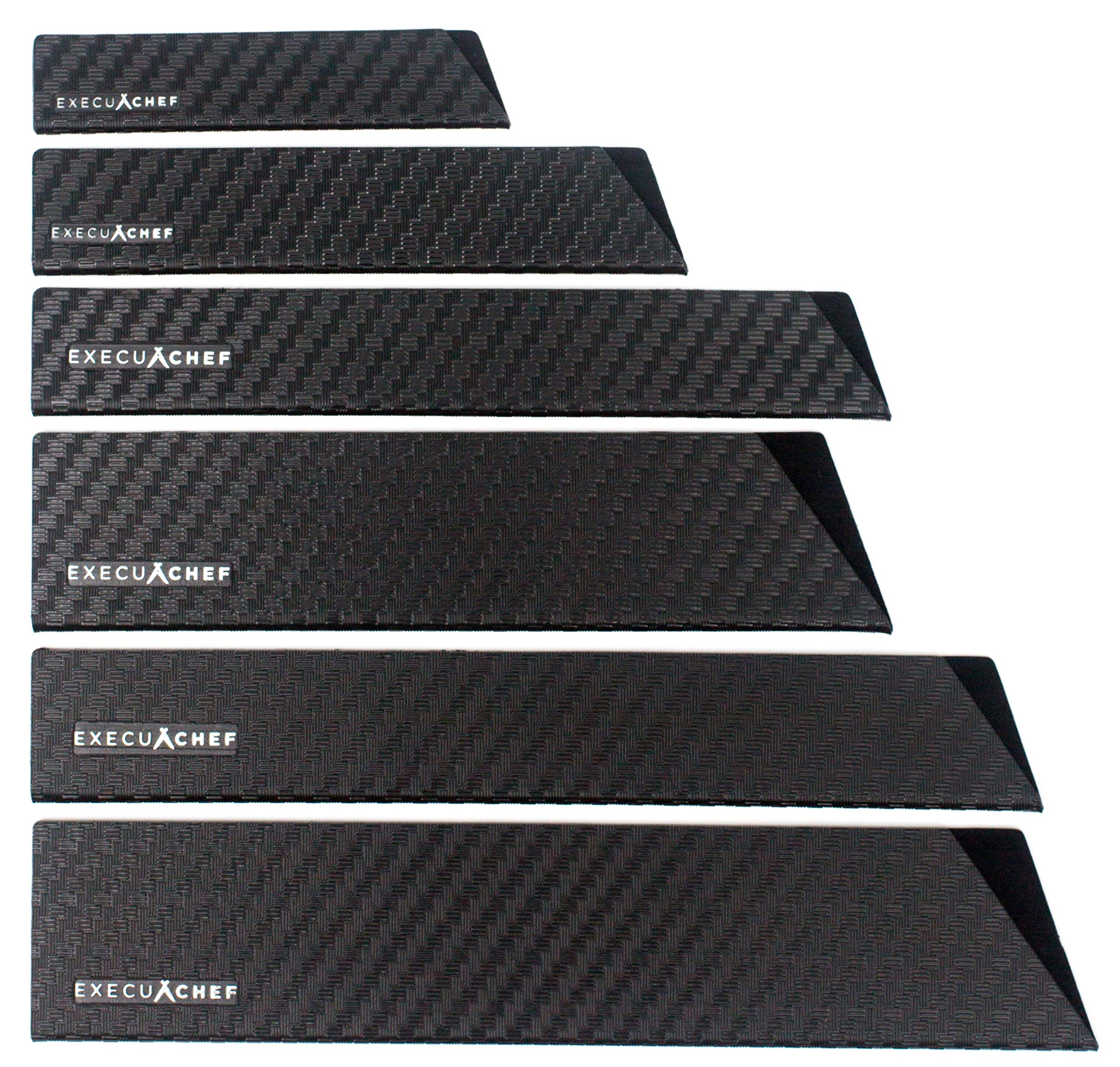 ExecuChef Professional Knife Edge Guards | 6 Piece Universal Blade Covers | Extra Strength, ABS Plastic and Felt Lining that's BPA-Free, Non-Toxic and Food Safe by ExecuChef