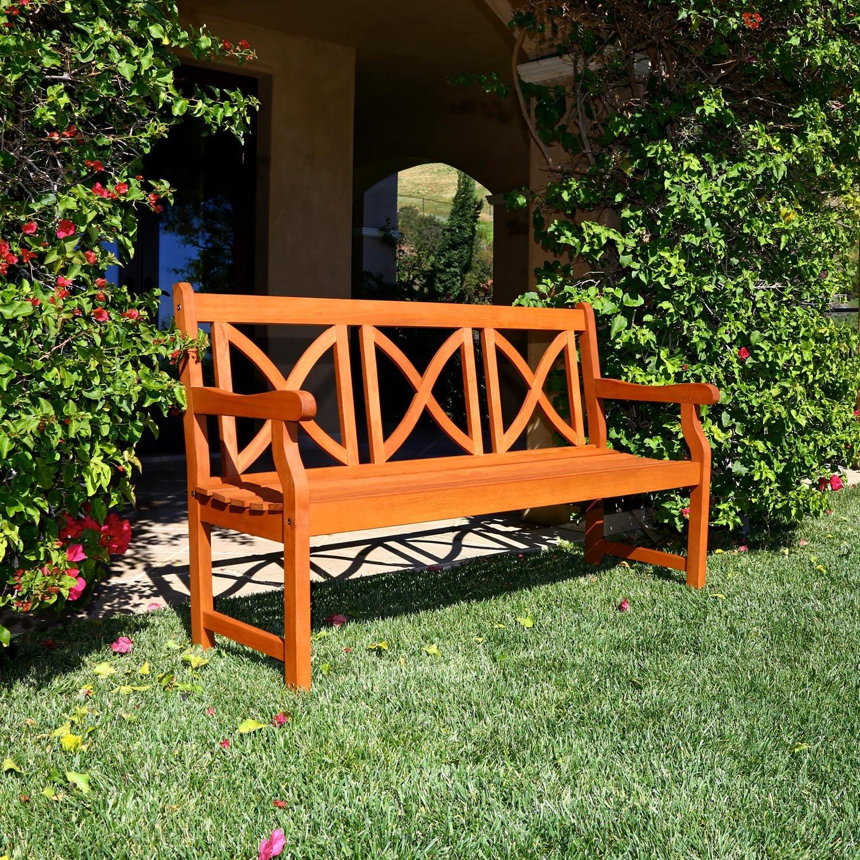 Amazon VIFAH V100 Outdoor Wood Bench X Back Design Natural