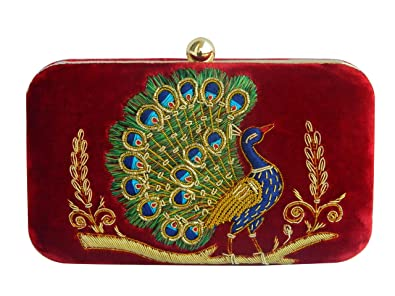61a897b19dee3 Zardozi Clutch, Red Color Velvet Peacock Clutch, Purse, Evening bag ...