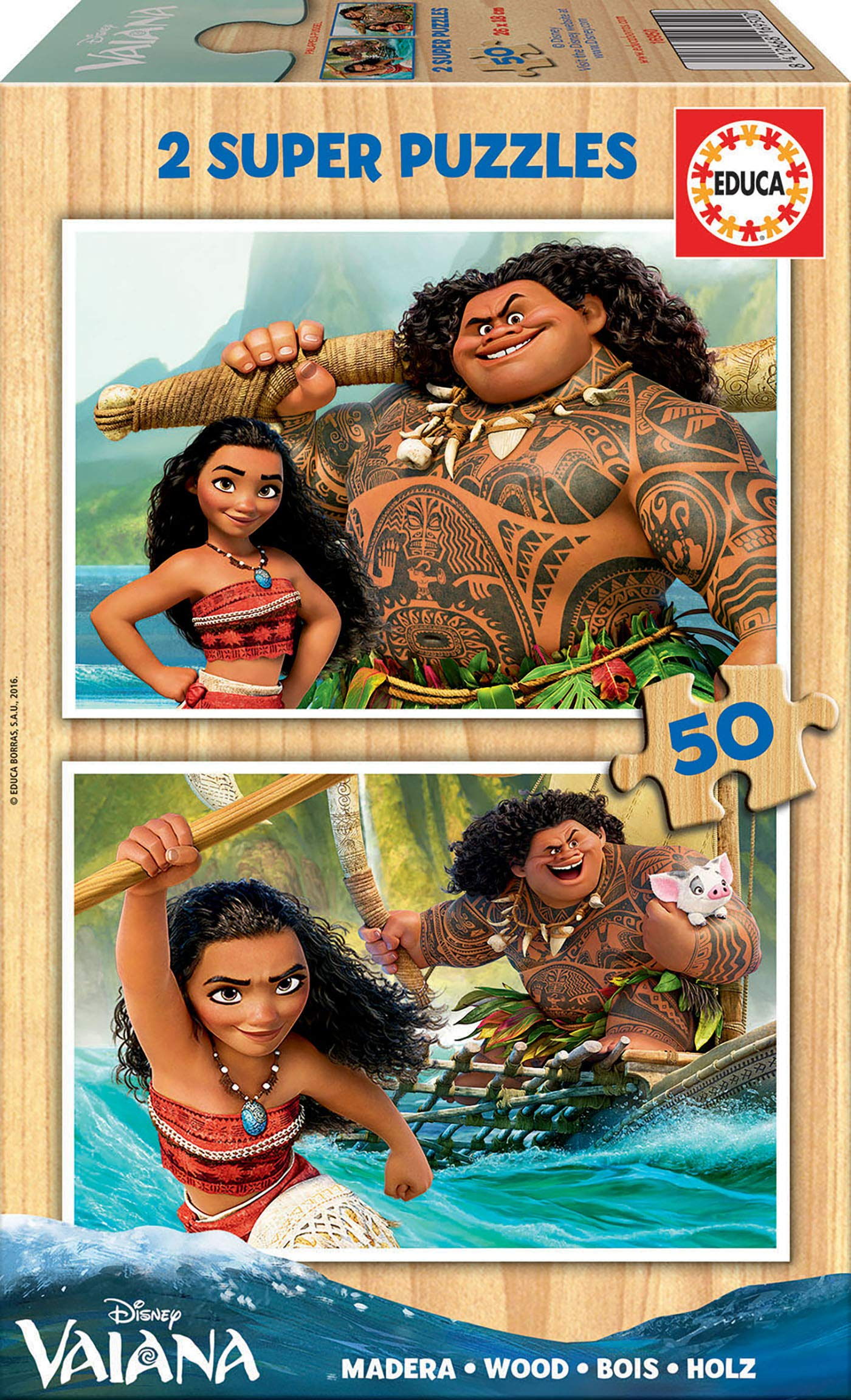 Educa Borrás – 16950.0 Vaiana [Moana] puzzles – 2 x 50 Pieces