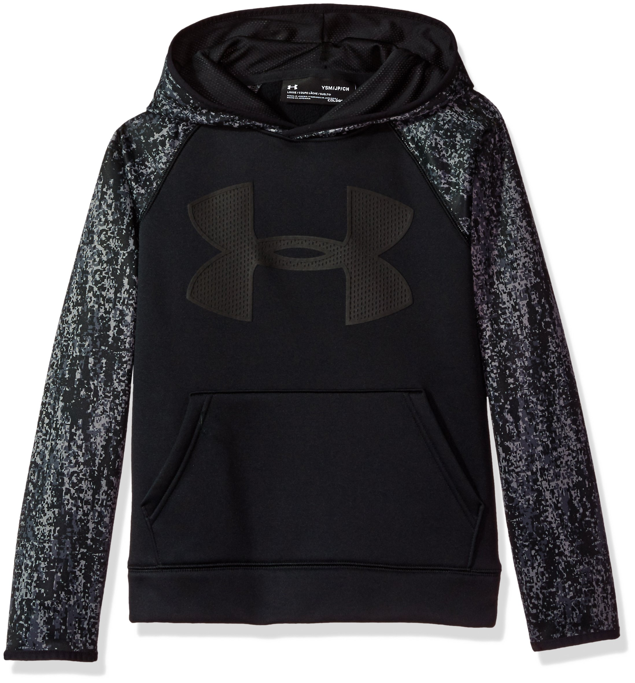 Under Armour Boys' Storm Armour Fleece Big Logo Printed Hoodie,Black (001)/Black, Youth X-Small