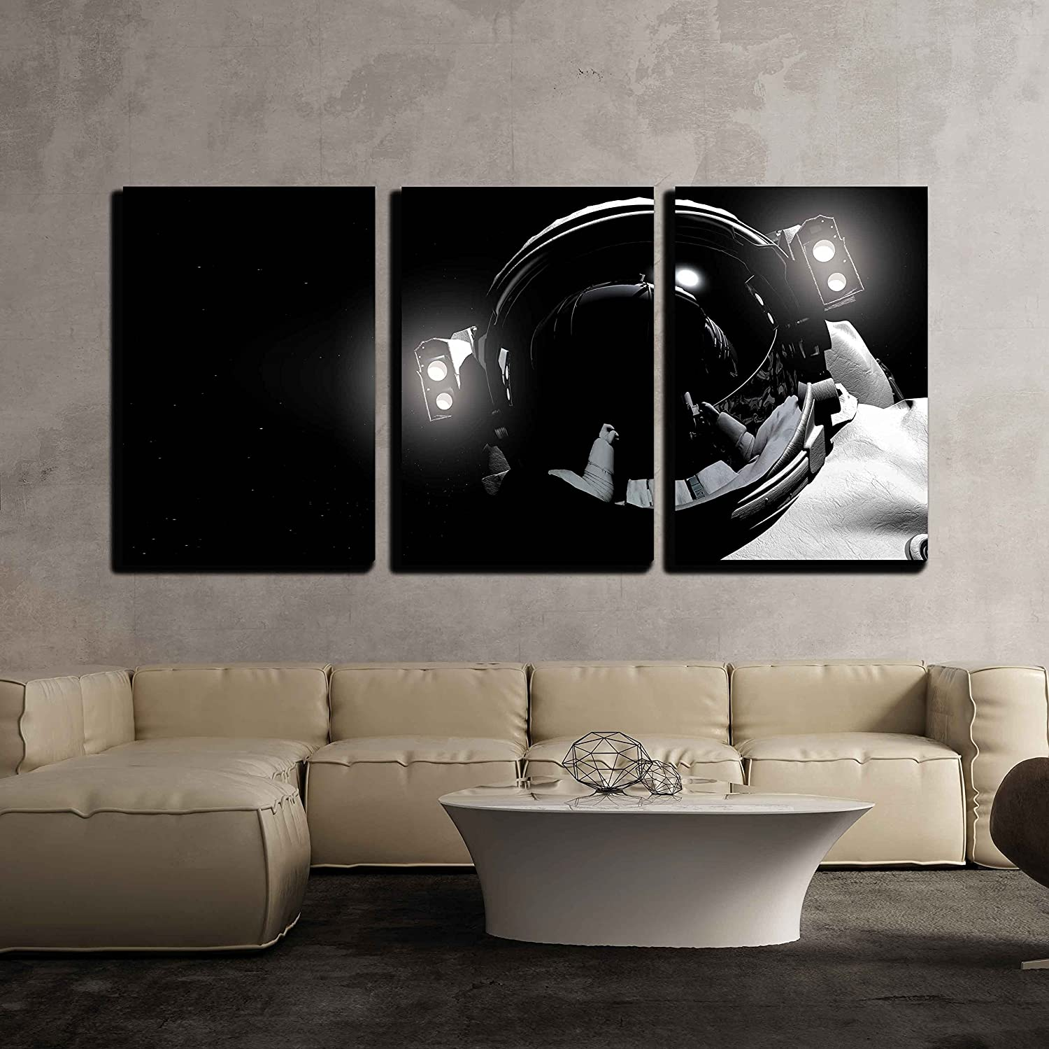 3 Piece Canvas Wall Art - The Astronaut in Outer Space - Modern Home Art Stretched and Framed Ready to Hang - 24