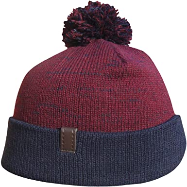 Men s Contrast Knit Chunky Thermal Winter Bobble Hat (Claret   Navy ... 01fc58ba28a