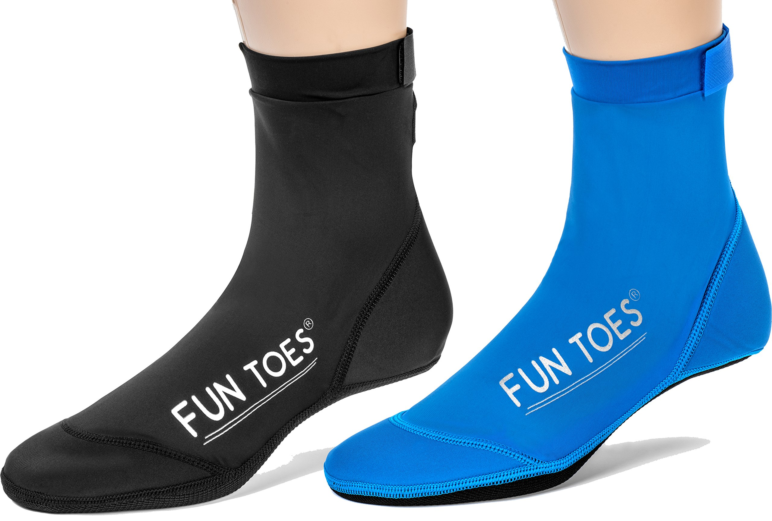 FUN TOES 2 Pairs BEACH SOCKS for Volleyball Soccer, Camping, Rafting, Diving and all sand sports (L Women: 10.5-12 / Men 9-10.5, Black-Blue)