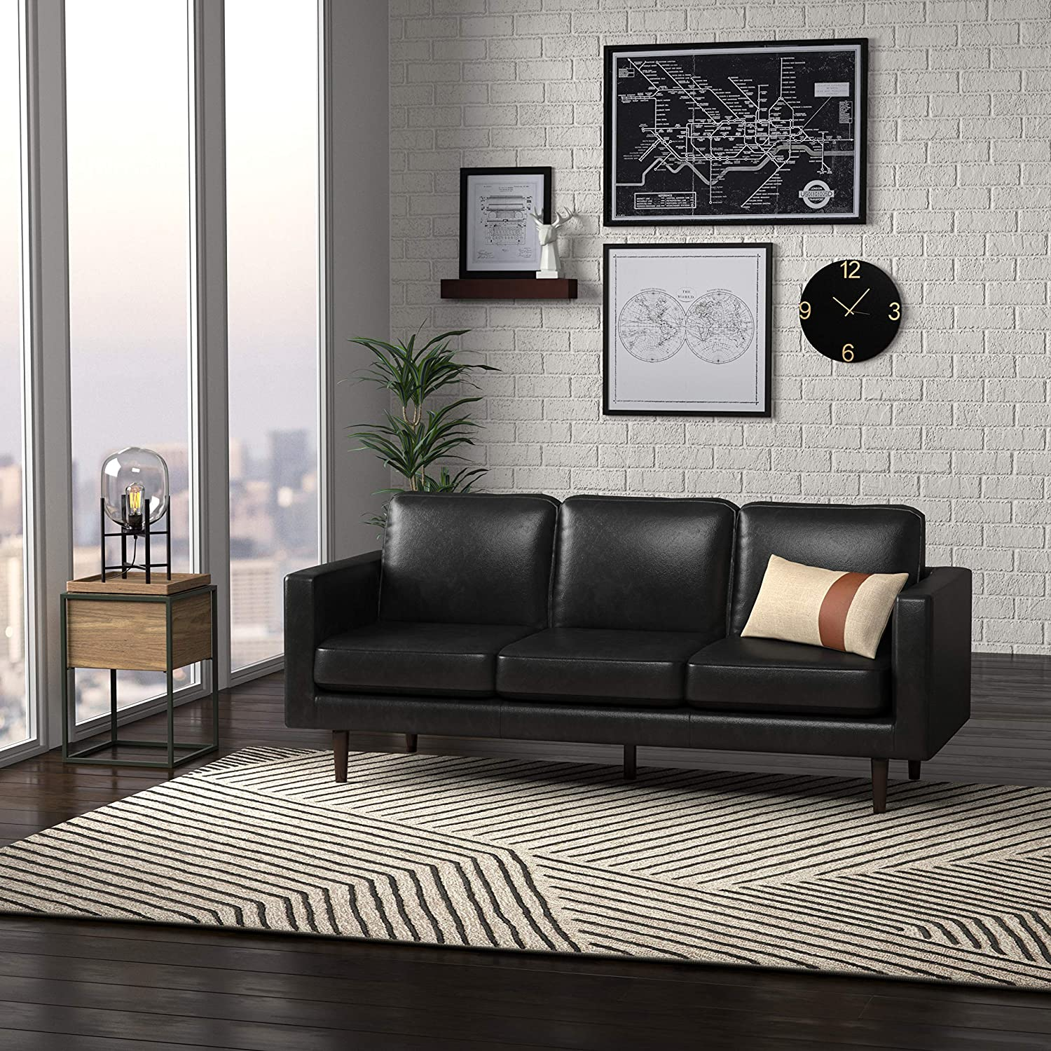 Rivet Revolve Modern Leather Sofa Couch