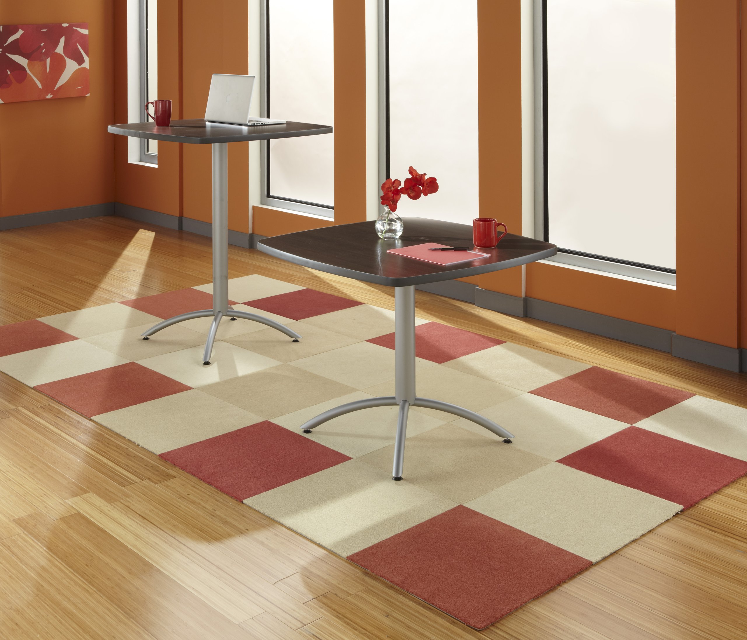 Iceberg ICE65634 CafeWorks Square Bistro Table with Powder-Coated Steel Base, 36'' Length x 36'' Width x 42'' Height, Walnut