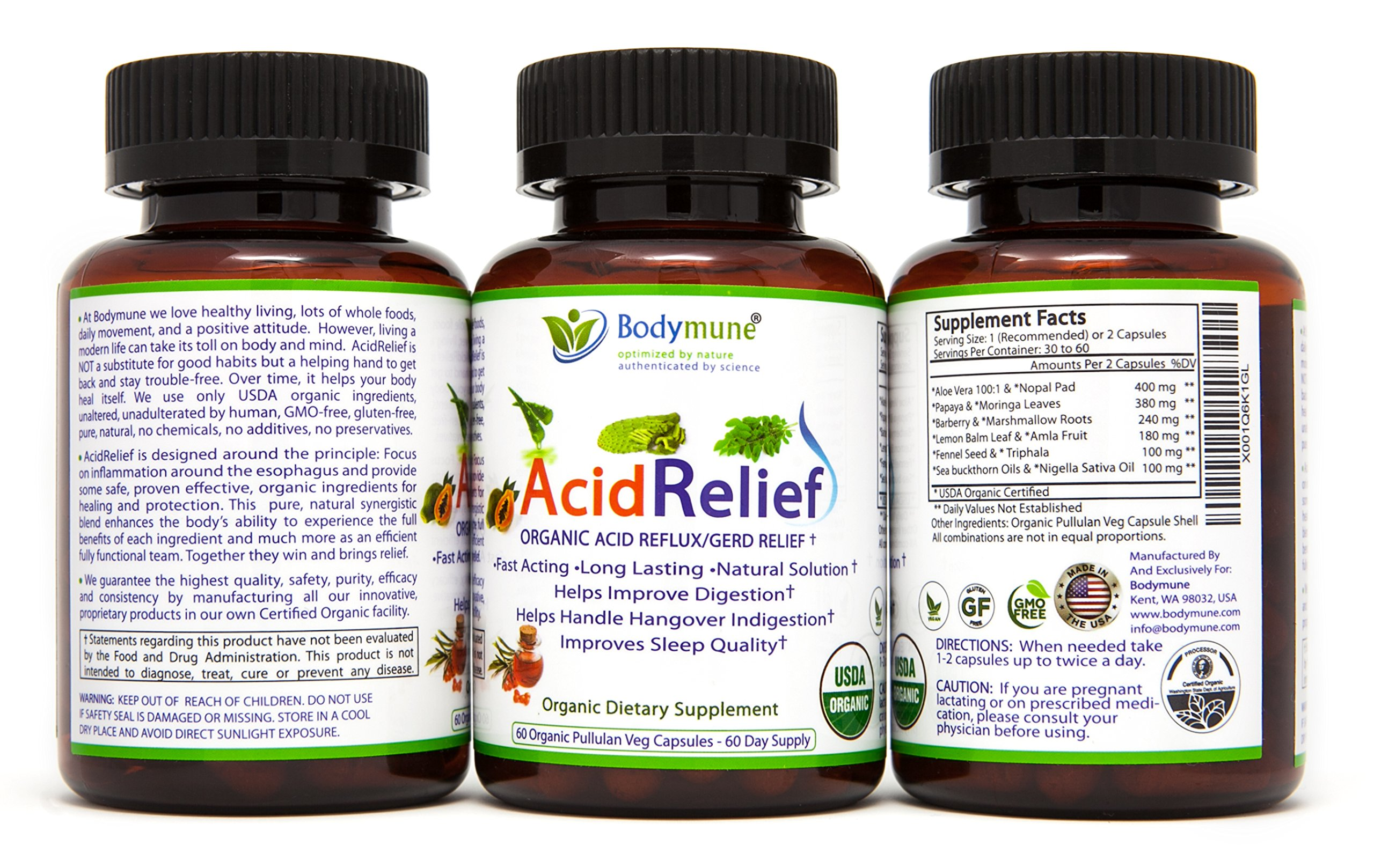 Acid Relief, Antacid, GERD Relief, Indigestion Relief All Natural USDA Organic 100% Vegan Nutritional Support by Bodymune | Acid Reflux Relief, Heartburn Relief, Stomachaches, Digestion Help - 60 Cap by Bodymune (Image #1)