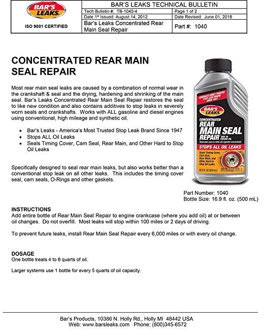 Bar's Leaks 1040 Grey Pack of 1 Concentrated Rear Main Seal Repair-16 9 oz