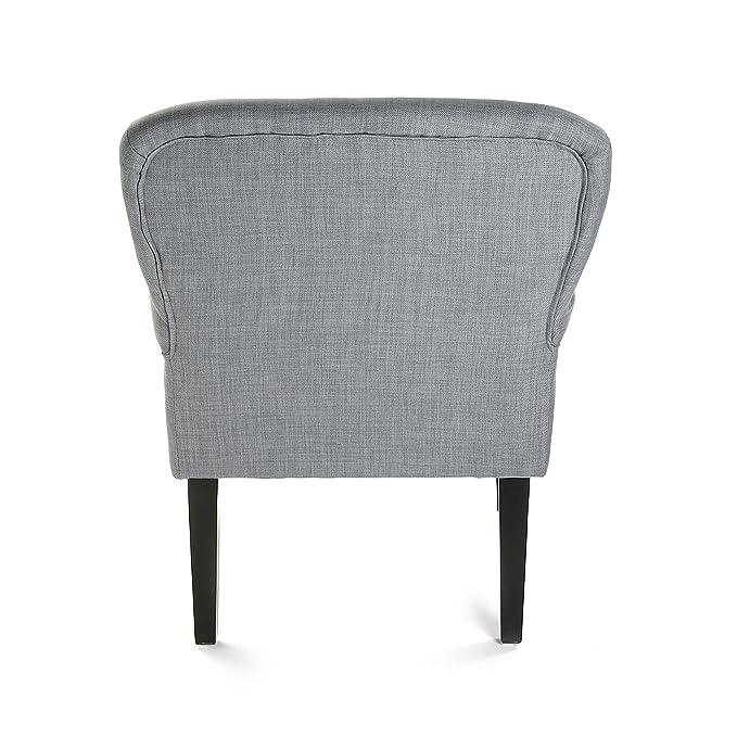 Versa 19501055 Sillón tapizado Buttons, 89x71x72 cm, Gris, Butaca, Sofá, Algodón