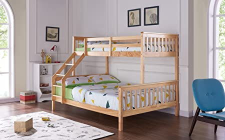 Unmatchable Triple Bunk Bed Solid Pine Wood Frame Children Kids Bed ...