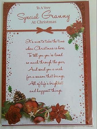 Granny Weihnachten Karte traditionellen rot/weiß Blumen/Wörter ...