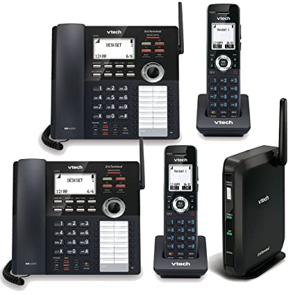 telco depot bundle of vtech 4-line small business phone system with 2  desksets and