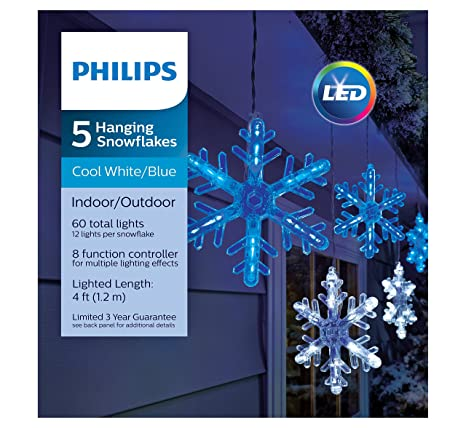 philips 5 count led bluecool white color changing multi function snowflake string lights