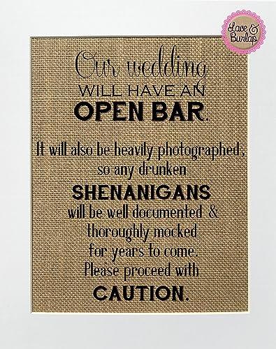 Wedding Bar Sign Party Decor Burlap Print Sign UNFRAMED 8x10 The Bar Is Open
