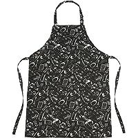 TRIXES Delantal Largo Cocinero Peculiar Diseño Negro