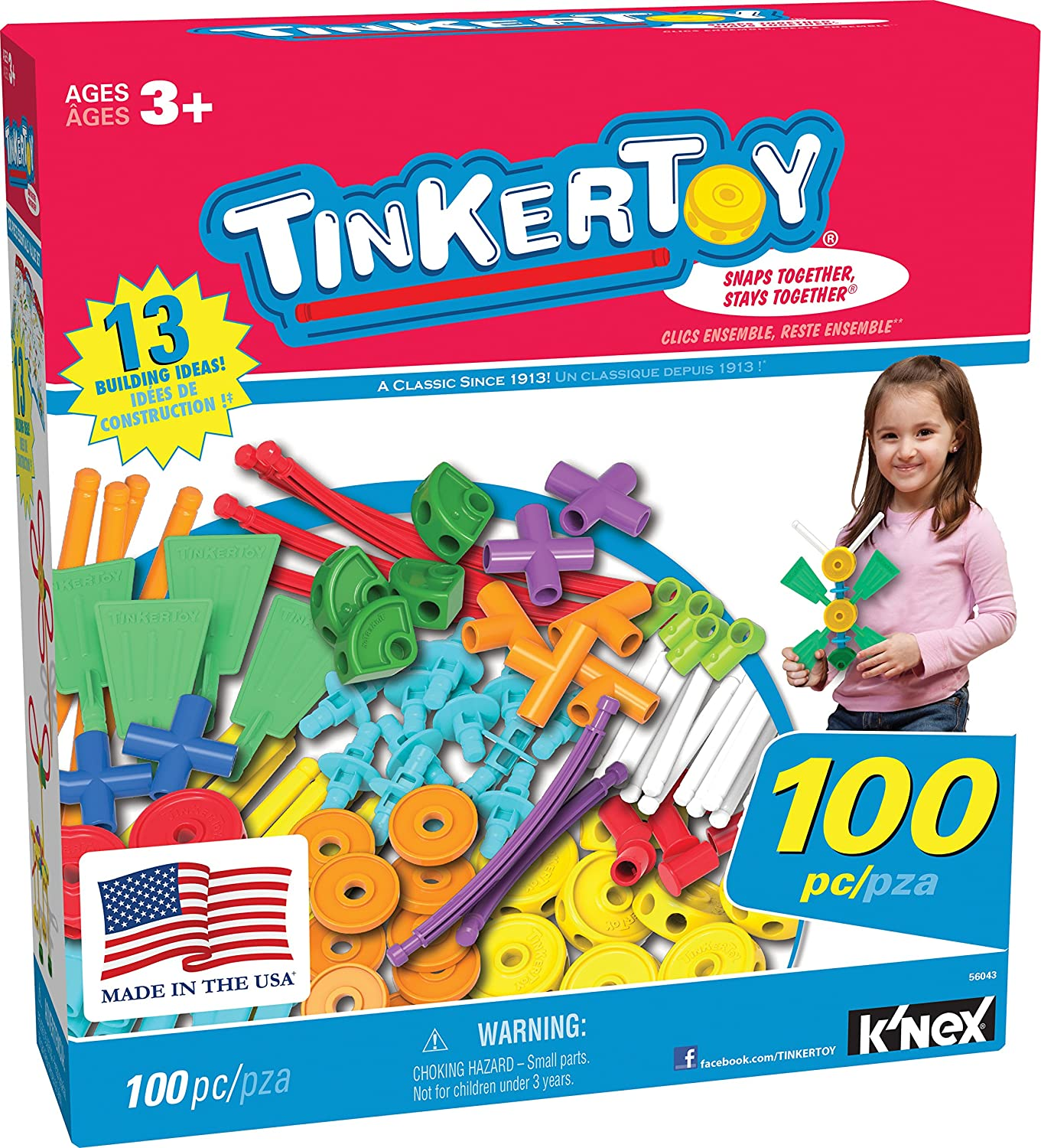TINKERTOY ‒ 100 Piece Essentials Value Set ‒  Ages 3+ Preschool Education Toy K' NEX 56043