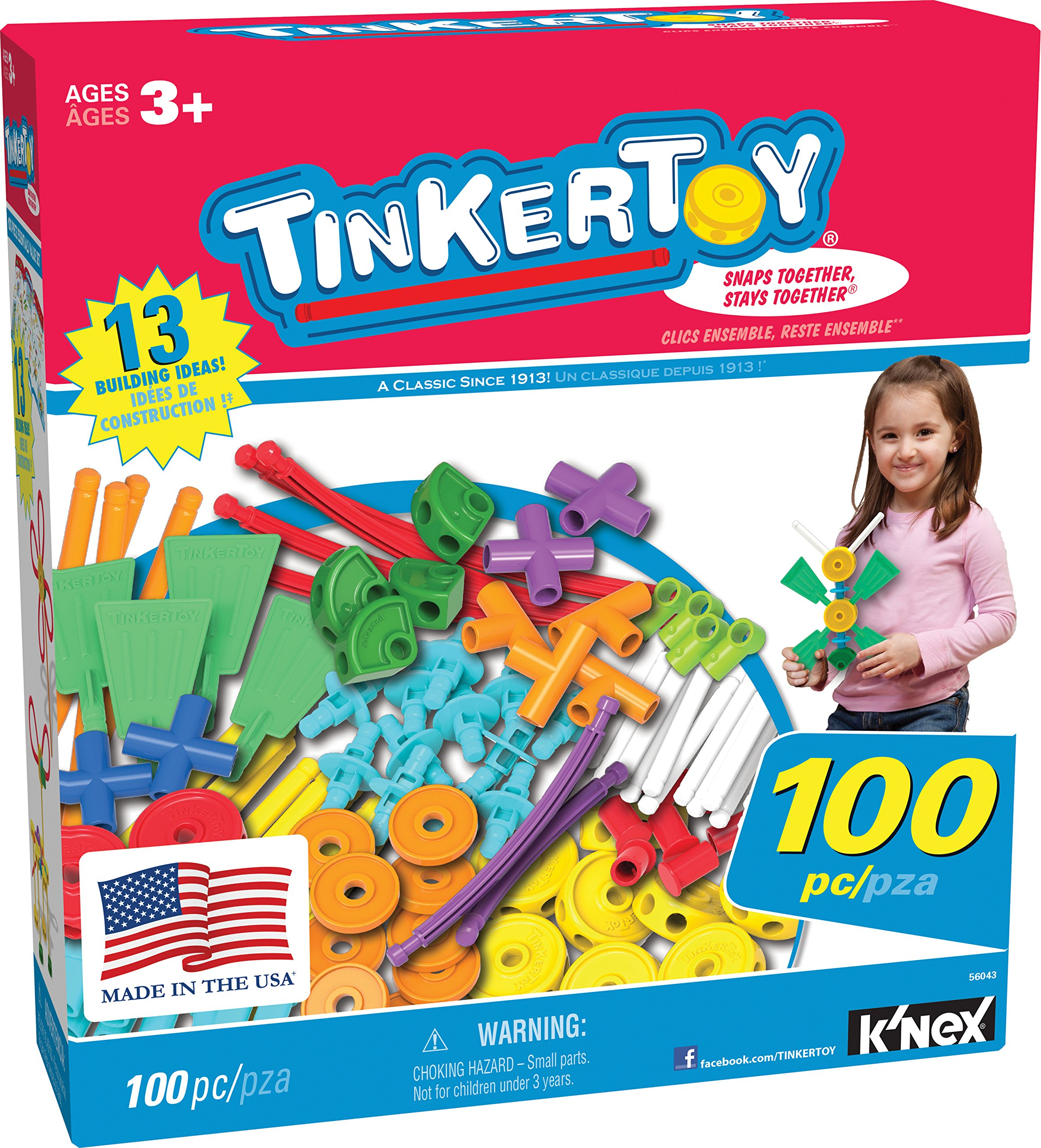 TINKERTOY ‒ 100 Piece Essentials Value Set ‒  Ages 3+ Preschool Education Toy