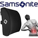 Samsonite SA5243 Lumbar Support Cushion, 100% Pure Memory Foam, Helps Relieve Lower Back Pain, Improves Posture, Fits Most Seats, Breathable Mesh, Adjustable Strap, Back Support Pillow, Black