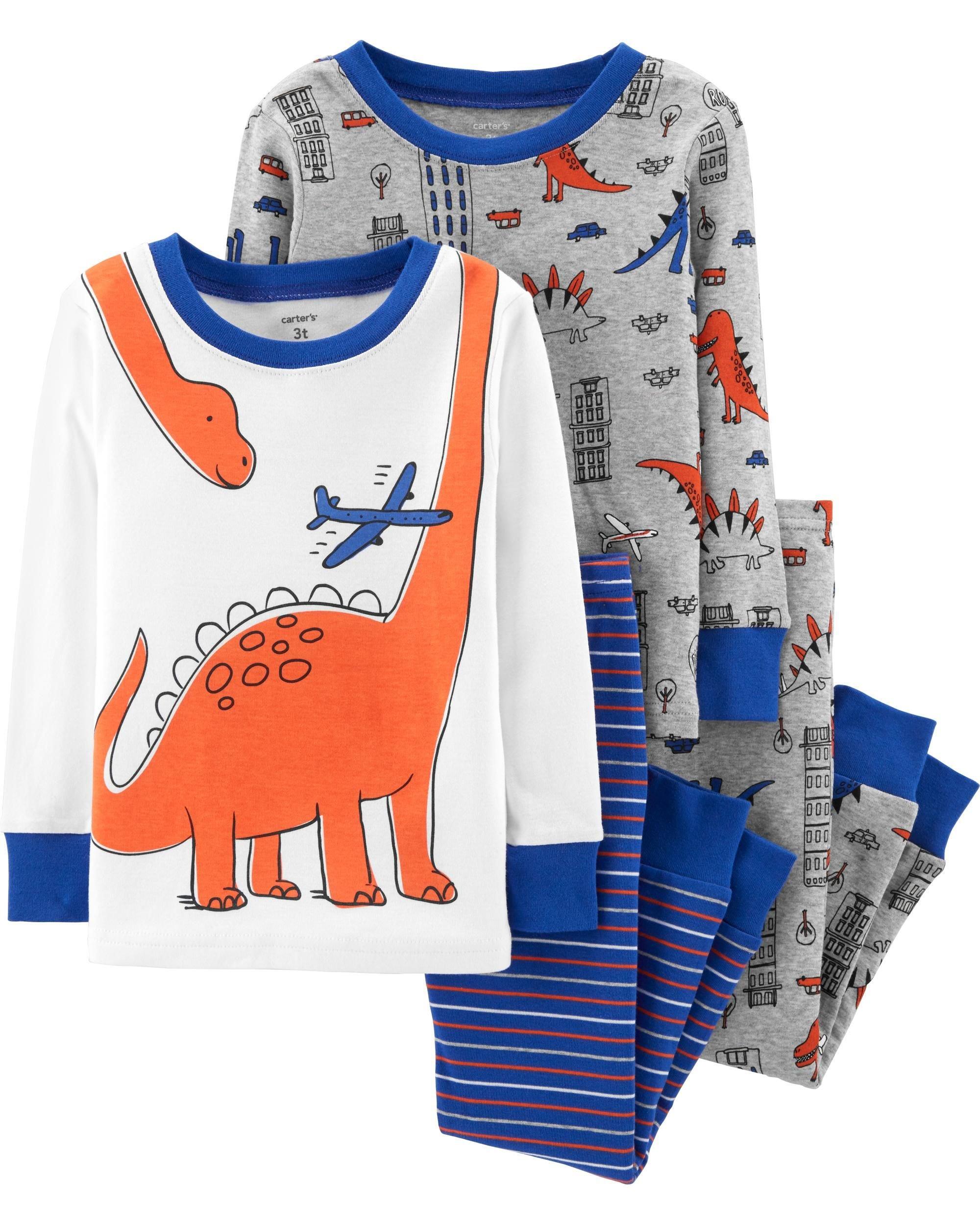 Carter's Boy's 4-Piece Snug Fit Cotton PJ Set, Dinosaur, 4T