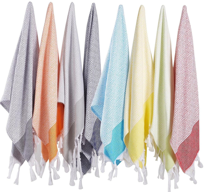 (Set of 8) Turkish Cotton Hand Face Head Guest Gym Towel Set Peshtemal Washcloth Kitchen Tea Towel Dish Cloth Set