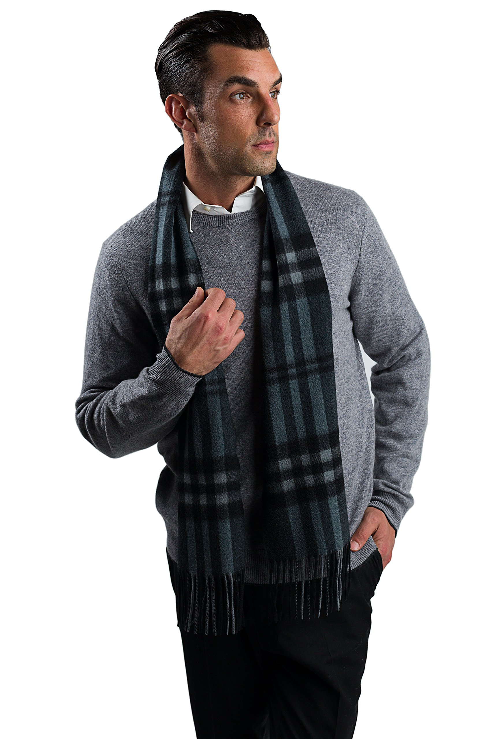JENNIE LIU 68'' X 12'' Men's Solid and Plaid Designs 100% Cashmere Scarf Grey Plaid