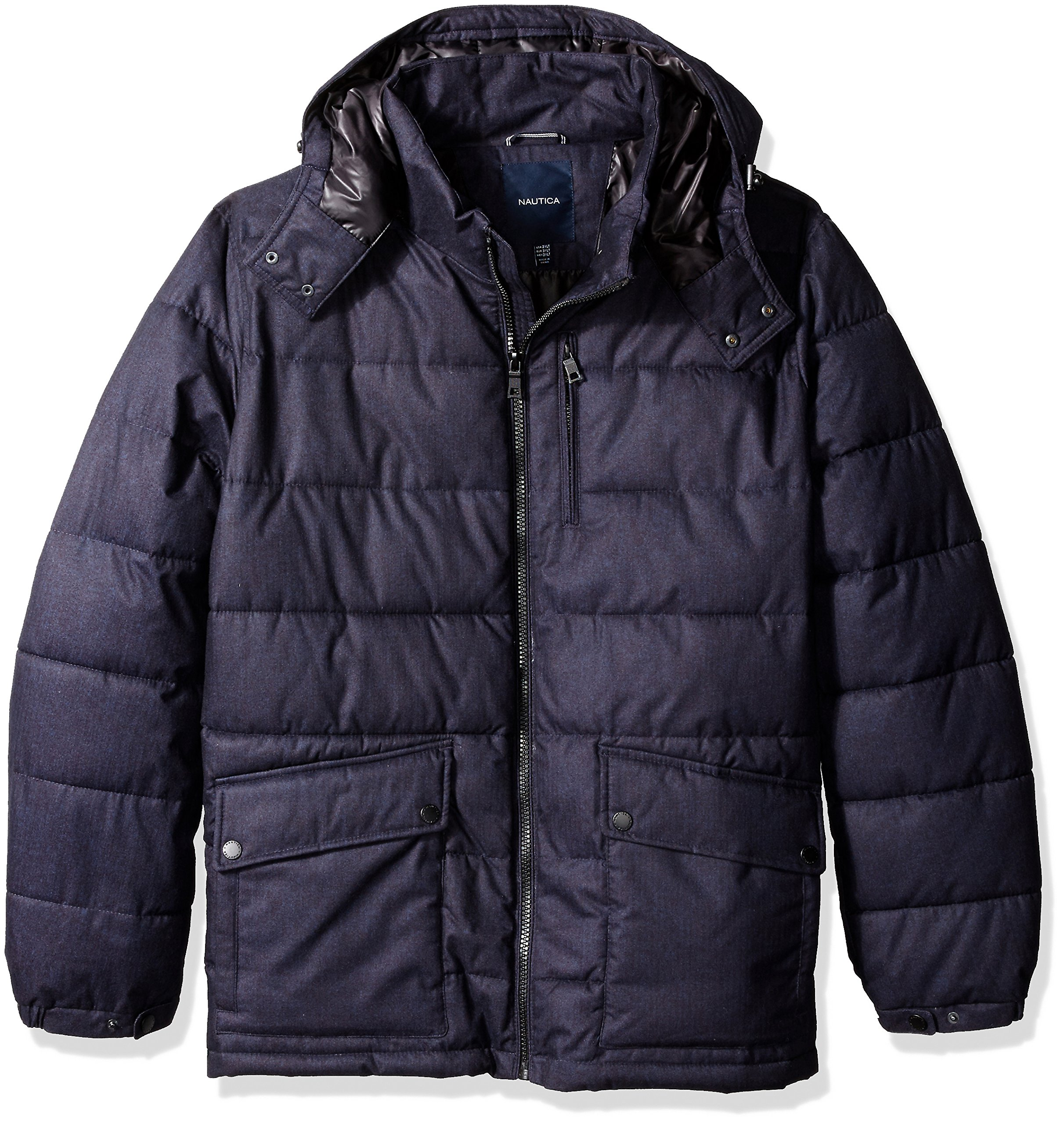 Nautica Men's Big and Tall Brushed Hooded Puffer Parka, Navy, 3X