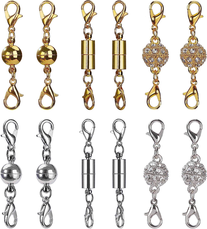 Cierres de Joyería Magnética Cilíndrico y Tono de Bola Broche de Langosta Magnético de Diamantes de Imitación para Bisutería Collar Pulsera (Plateado y Dorado) 12 Piezas