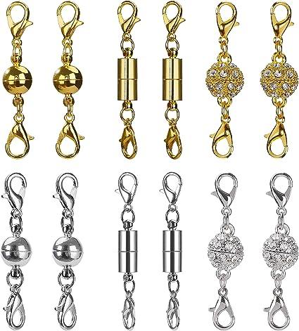 Pandahall Set di 15 chiusure magnetiche in ottone per collane gioielli bracciali