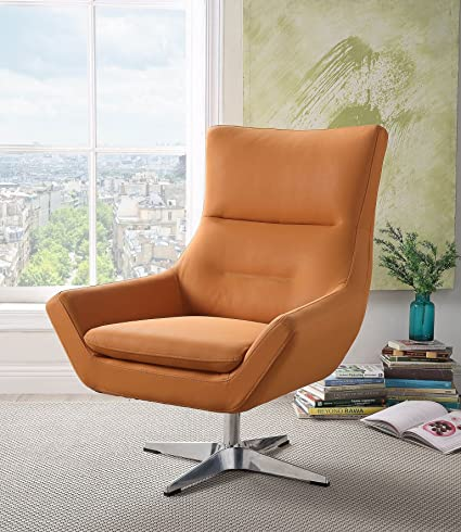 Swell Major Q 37 H Contemporary Style Orange Leather Gel Swivel Accent Chair 9059733 Pdpeps Interior Chair Design Pdpepsorg