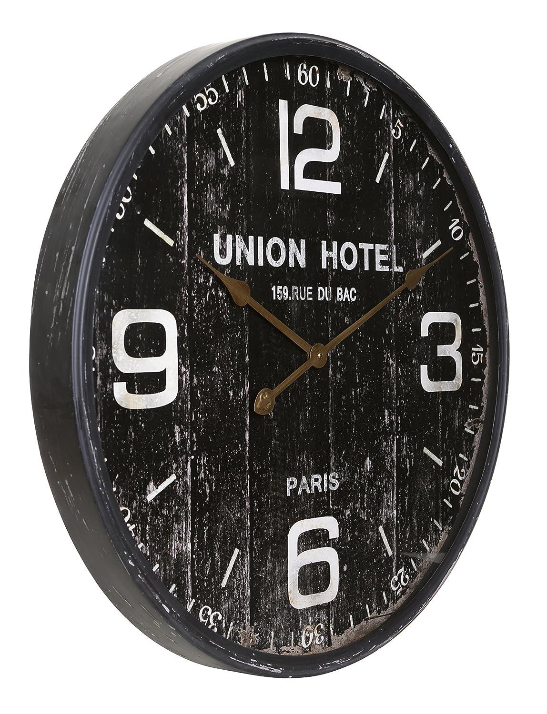 Kiera Grace HO60203-9 Union Hotel Metal Wall Clock Large Black