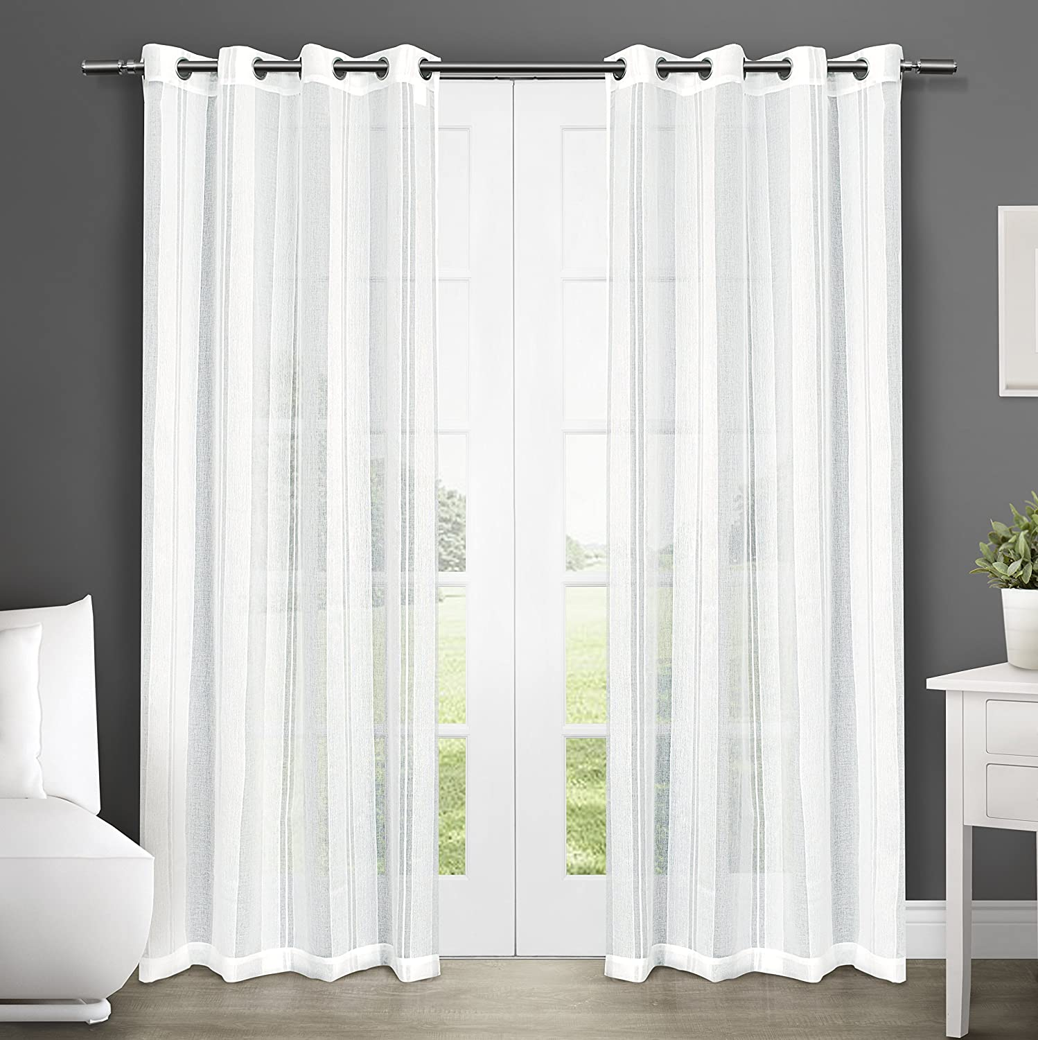 Amazon.com: Exclusive Home Curtains Apollo Sheer Grommet Top Window Curtain  Panel Pair, Winter White, 50x96: Home U0026 Kitchen
