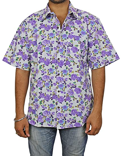 f288cf6a31 Image Unavailable. Image not available for. Color: Indian Beach Shirts For Men  Cotton Printed Fashion Accessory Comfortable Airy