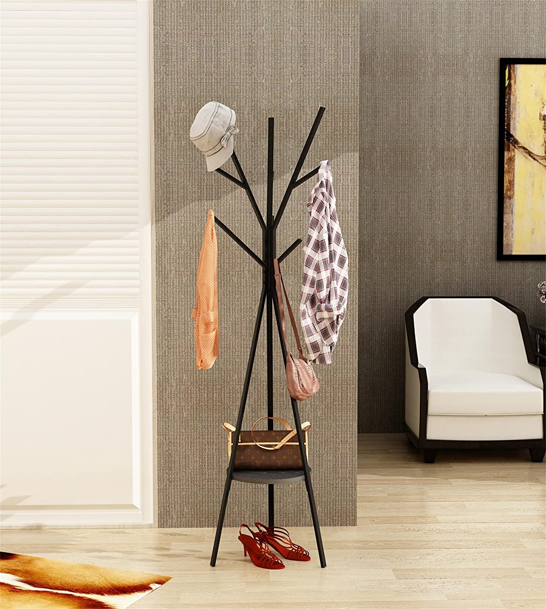 "Home-Like Metal Coat Rack Hat Hanger Holder Hall Tree Hallstand Garment Rack Clothing Rack Tree Stand Suit for Bedroom Office Hallway Entryway (70.87"" H -Black)"