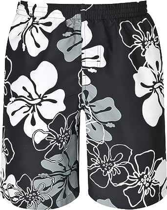 mareno® - Heren zwemshort met modern bloemenpatroon in marineblauw, rood of zwart