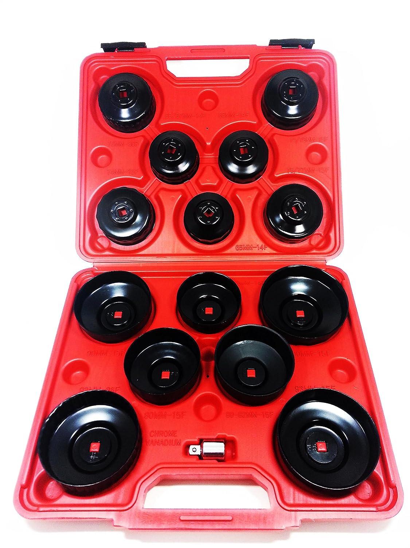 Kit 15douilles pour filtres voiture clés cloche pour filtre à huile en mallette. MWS