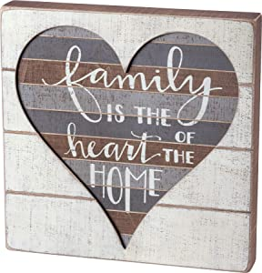 Primitives by Kathy 38235 Hand Lettered Slat Wood Box Sign, 12 x 12-Inches, Family is The Heart of a Home