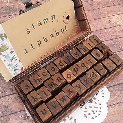 Minúsculas letra del alfabeto juego de sellos – Vintage máquina de escribir – sellos de madera