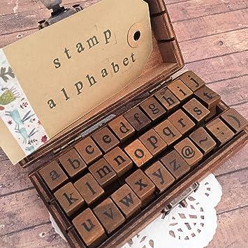 Minúsculas letra del alfabeto juego de sellos - Vintage máquina de escribir - sellos de madera con caja: Amazon.es: Hogar