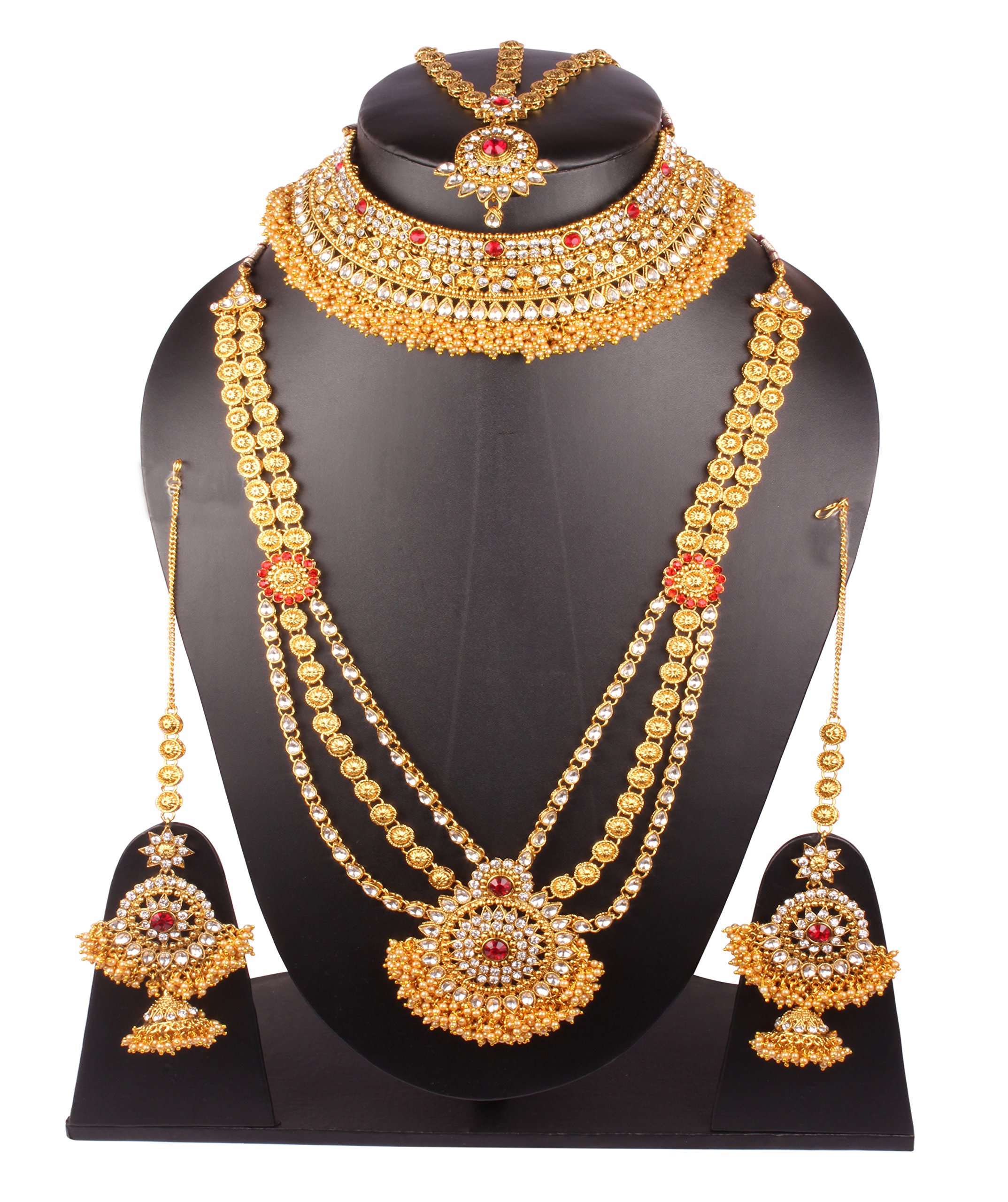 Traditional Bollywood Style Gold Plated Indian Necklace Earrings Bridal Set Jewelry